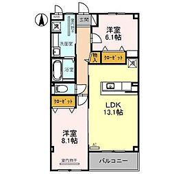 富山県富山市二口町4丁目の賃貸アパートの間取り