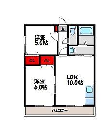 福岡県福岡市早良区干隈3丁目の賃貸アパートの間取り