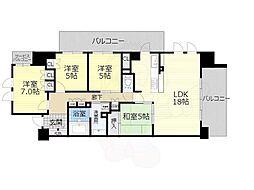 阪急千里線 千里山駅 徒歩4分の賃貸マンション 2階3LDKの間取り