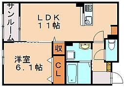 Urara2 1階1LDKの間取り