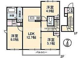 岡山県岡山市東区瀬戸町瀬戸の賃貸アパートの間取り