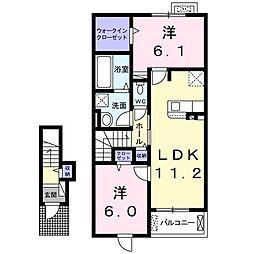 ヴィオラ広丘I 2階2LDKの間取り
