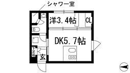 ステーションスクエアさくら通り 3階1DKの間取り