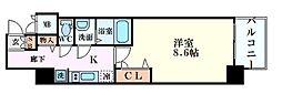 Osaka Metro堺筋線 堺筋本町駅 徒歩5分の賃貸マンション 3階1Kの間取り