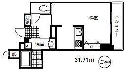 インペリアル新神戸 9階1DKの間取り