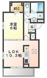 JR山陽本線 高島駅 徒歩25分の賃貸アパート 1階1LDKの間取り