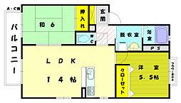 ラフォーレ三苫駅前A[1階]の間取り