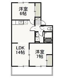 岡山県岡山市中区原尾島の賃貸アパートの間取り