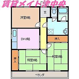三重県津市寿町の賃貸アパートの間取り