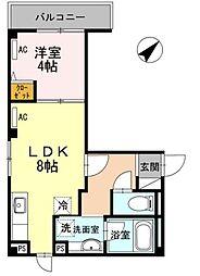 ROPPONGI skye(ロッポンギスカイエ) 2階1LDKの間取り