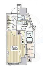 パークアクシス白金 6階ワンルームの間取り
