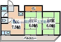 竹宏深江橋マンション[4階]の間取り