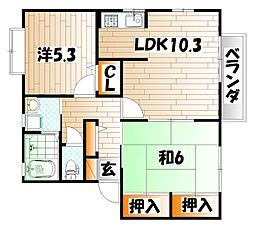 プリムヴェールパルク B棟[2階]の間取り