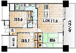 福岡県北九州市小倉北区原町2丁目の賃貸マンションの間取り