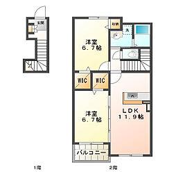 シャトー・シモハタ3[2階]の間取り