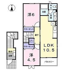 愛知県北名古屋市鹿田花の木の賃貸アパートの間取り