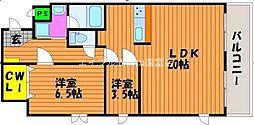 エクセレント東島田[6階]の間取り