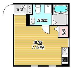 メゾン大和田 1階ワンルームの間取り