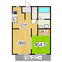 桃栄マンション[2C号室]の間取り