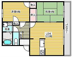 コスモフラット木村[1階]の間取り