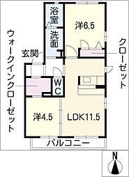 ブランカB棟[1階]の間取り