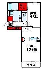 サンフィットハイツ十一号館[1階]の間取り