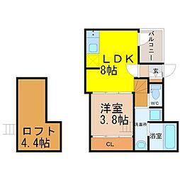 天白区植田西三丁目デザイナーズ[2階]の間取り