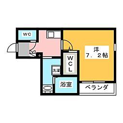 ヘーベル大須 2階1Kの間取り
