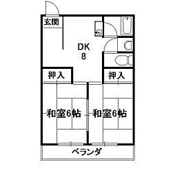 サンハイツ西ノ京[203号室]の間取り