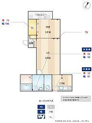福岡市地下鉄七隈線 賀茂駅 徒歩5分の賃貸アパート 1階1LDKの間取り