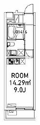 ファビオ東大前 2階ワンルームの間取り