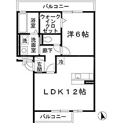 大阪府大東市三箇1丁目の賃貸アパートの間取り