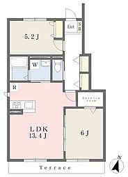 近鉄奈良線 河内花園駅 徒歩8分の賃貸アパート 1階2LDKの間取り