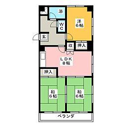 コーポひら野[3階]の間取り
