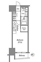 ザ・パークハビオ上野 14階ワンルームの間取り