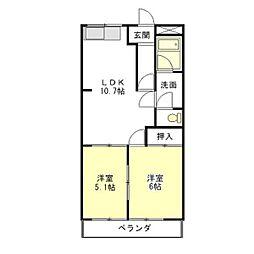 ガーデンロイヤル[2階]の間取り