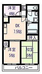 ジョイフル久米田[504号室]の間取り