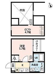 愛知県名古屋市中川区松葉町4の賃貸アパートの間取り