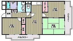大阪府富田林市川面町2丁目の賃貸マンションの間取り