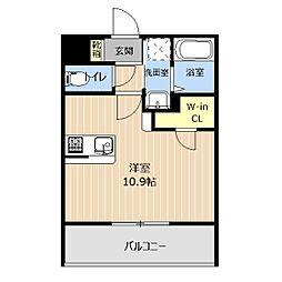 LIBTH本荘 3階ワンルームの間取り