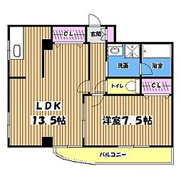 東京都日野市大字新井の賃貸マンションの間取り
