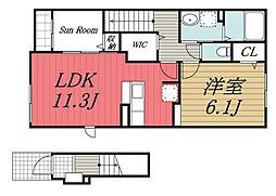 北総鉄道 印西牧の原駅 徒歩28分の賃貸アパート 2階1LDKの間取り