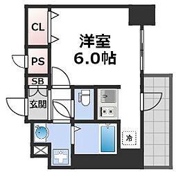 スプランディッド難波元町DUE 6階1Kの間取り