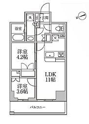都営大江戸線 新御徒町駅 徒歩2分の賃貸マンション 9階2LDKの間取り