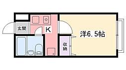 兵庫県西宮市鳴尾町3丁目の賃貸マンションの間取り