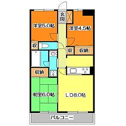 東京都東久留米市前沢2丁目の賃貸マンションの間取り
