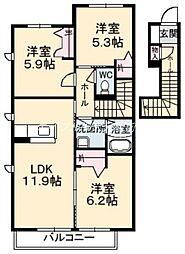 クラシオン金川 I棟[2階]の間取り
