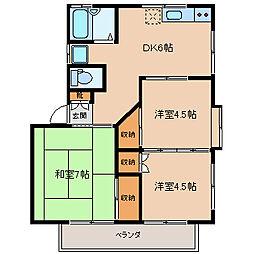 ハイツカラサワIII[1階]の間取り