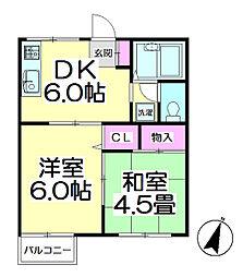 竹の塚ハイツ[101号室]の間取り