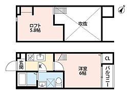千葉県松戸市常盤平2丁目の賃貸アパートの間取り